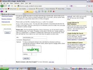 Masukkan URL anda, comment, dan kode kemudian klik Add URL