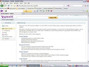 Tampilan jika berhasil submit di Yahoo